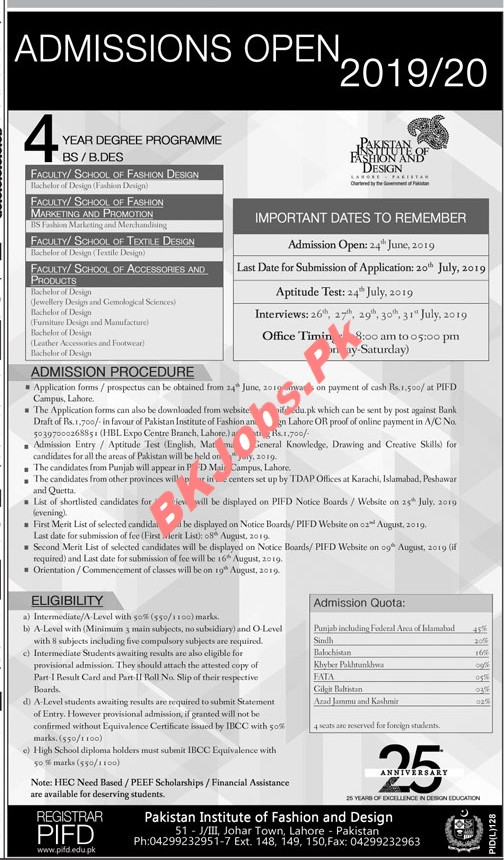 Pakistan Institute Of Fashion Design Lahore Admission Latest Advertisement Bk Jobs