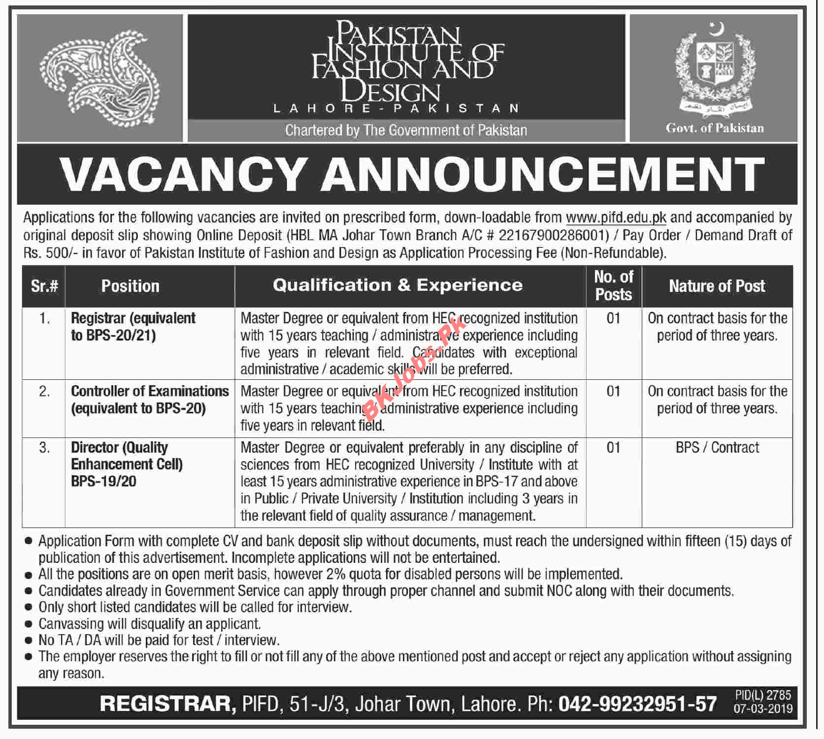 Pakistan Institute Of Fashion Design Lahore Jobs For Registrar Controller Of Examination Director Latest Advertisement Bk Jobs