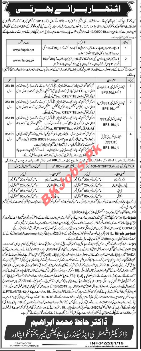 Elementary & Secondary Education KPK Jobs for SST, SST  IT & Others