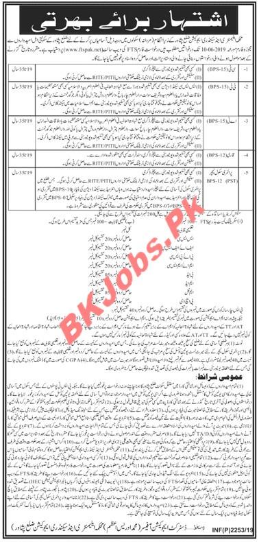 Elementary & Secondary Education Peshawar Male Jobs for CT,TT, Qari