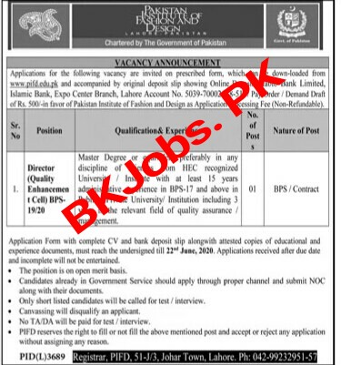 Pakistan Institute Of Fashion Design Lahore Jobs 2020 For Director Bk Jobs