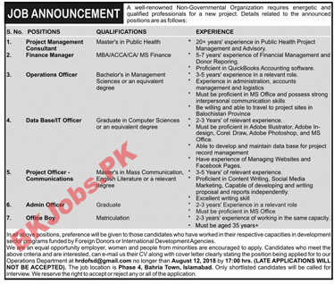 A Well Renowned Non Govt Org Islamabad Jobs for Consultant Finance