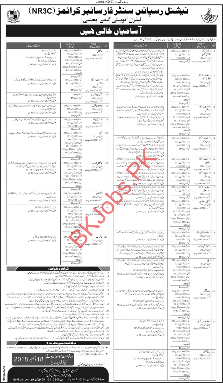FIA 400 Plus Jobs for Inspector Sub Inspector ASI Constable