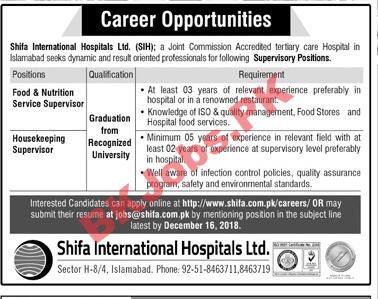 Shifa International Hospital Ltd Islamabad Jobs for Food