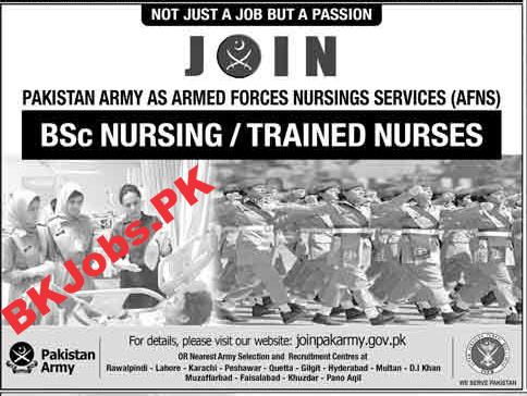 Join Pak Army As Armed Force Nursing Services Afns Bk Jobs