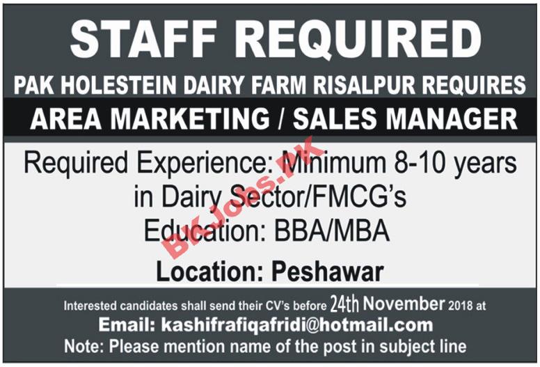 Pak Holstein Dairy Farm Peshawar Jobs for Area Marking Sales