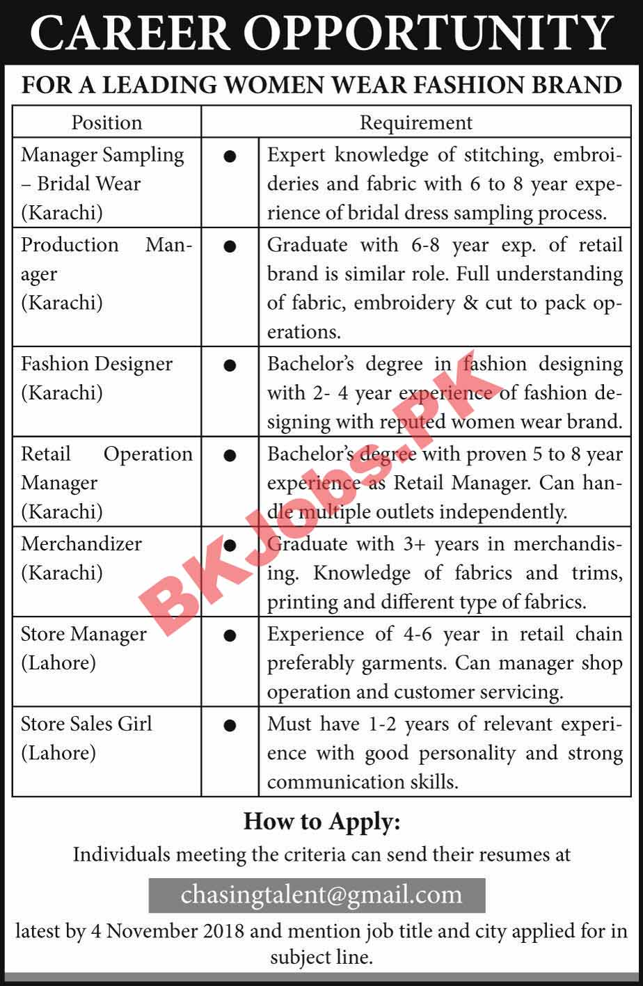 Leading Women Wear Fashion Brand Karachi Lahore Jobs For Manager Fashion Designer Store Sales Girl Others Latest Advertisement Bk Jobs