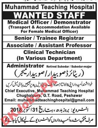 Muhammad Teaching Hospital Peshawar Jobs for Medical Officer