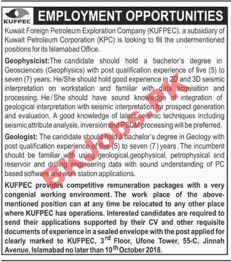 Kuwait Foreign Petroleum Exploration Company Islamabad Jobs