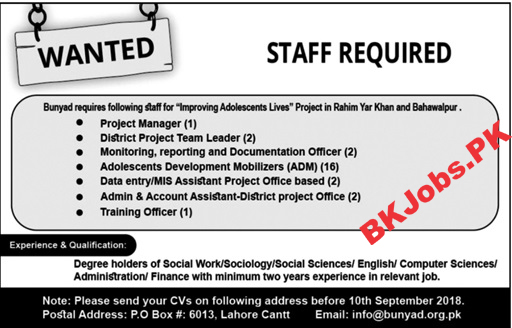 Po Box 6013 Lahore Jobs For Project Manager Data Entry Operator
