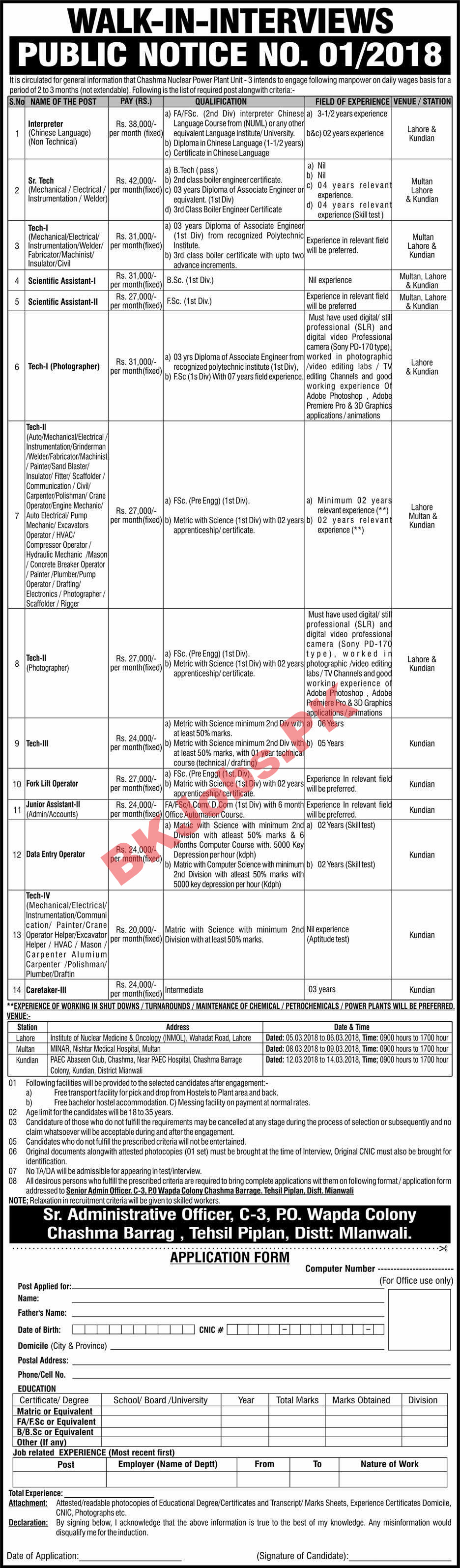 Atomic Energy Jobs 2018 at Chasma Power Plant for Technicians Junior ...