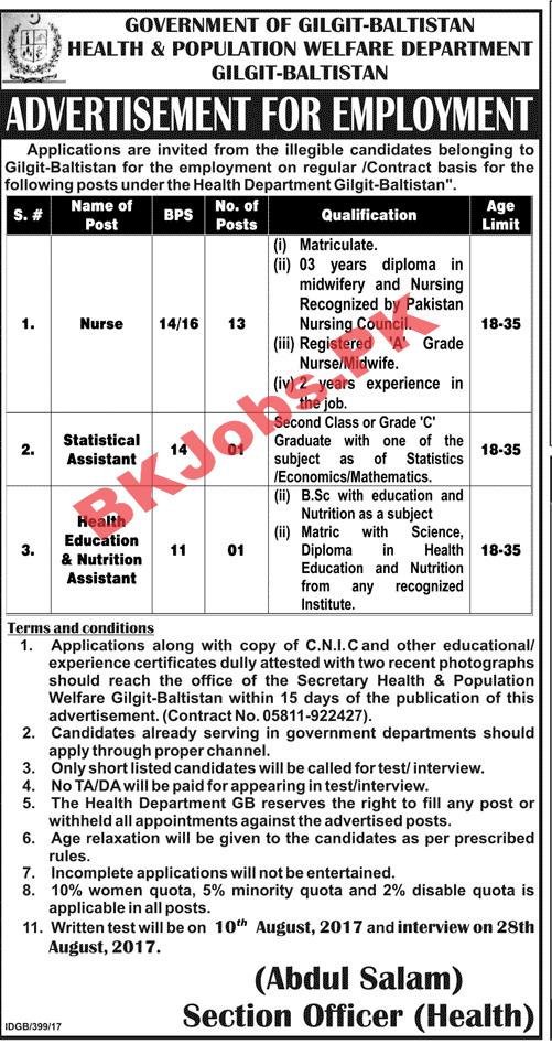 Health & Population Welfare Department Gilgit Baltisitan Jobs For ...