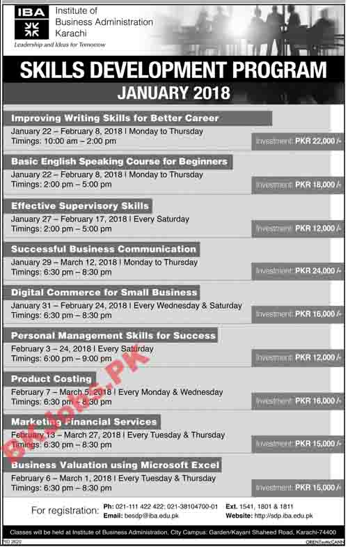 IBA Skill Development Program Latest Advertisement | BK Jobs