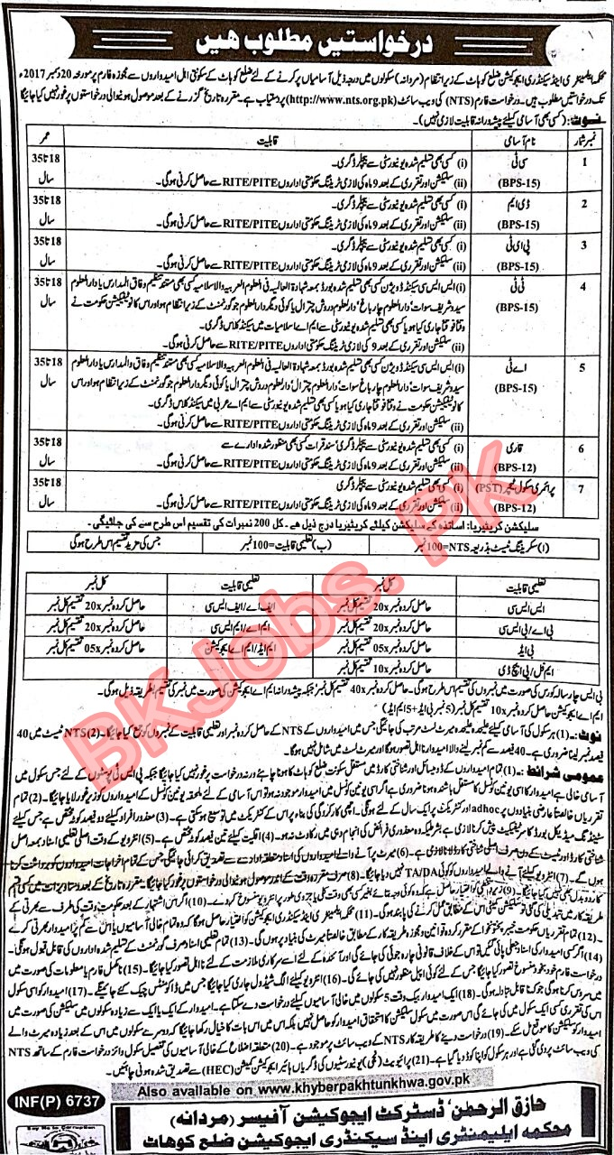 profile of secondary education in kohat Government of khyber pakhtunkhwa has announced 19 latest jobs in board of intermediate and secondary education kohat interested candidates can apply for these jobs.