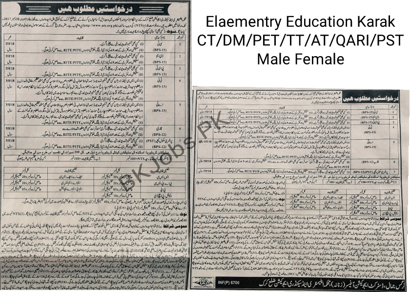 Elementary & Secondary Education Karak CT DM PET TT AT QARI PST Male