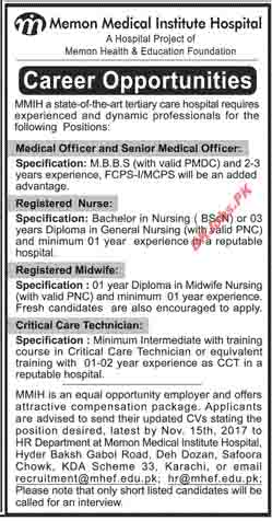 Memon Medical Institute Hospital Jobs for Medical Officer