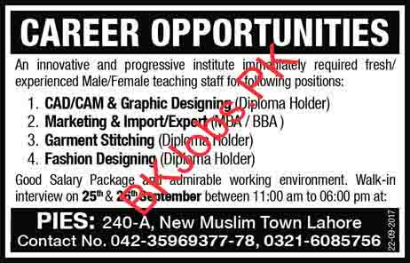 New Muslim Town Lahore Jobs For Cad Cam Graphic Designing Fashion Designing Others Latest Advertisement Bk Jobs