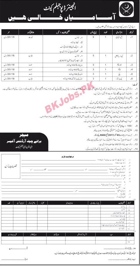 Pak Army Civilian Jobs 2017 For Engineer Depot Jhelum Cantt Bk Jobs