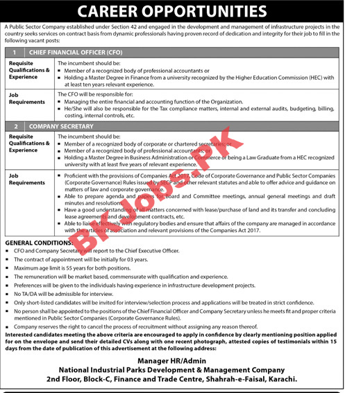 Public Sector Company Karachi Jobs For Chief Financial Officer Cfo