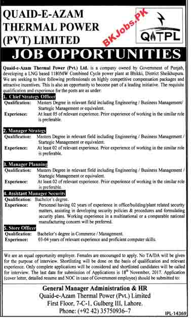 quaid e azam thermal power pvt ltd jobs for chief strategy officer manager strategy others latest advertisement - Chief Strategy Officer Job Description