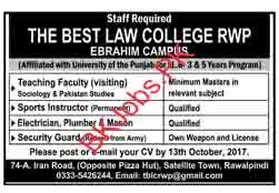 The Best Law College Rawalpindi Jobs for Teacher Latest