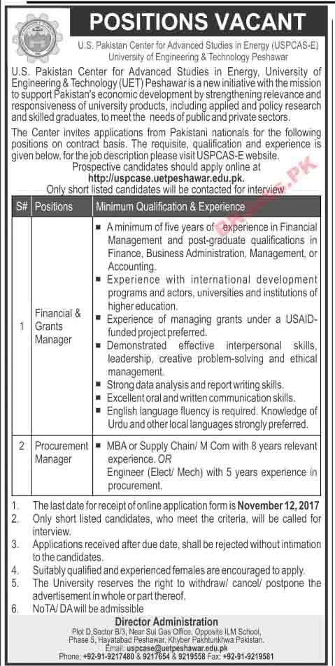us pakistan center for advanced studies kpk jobs for finance grants manager procurement manager latest advertisement