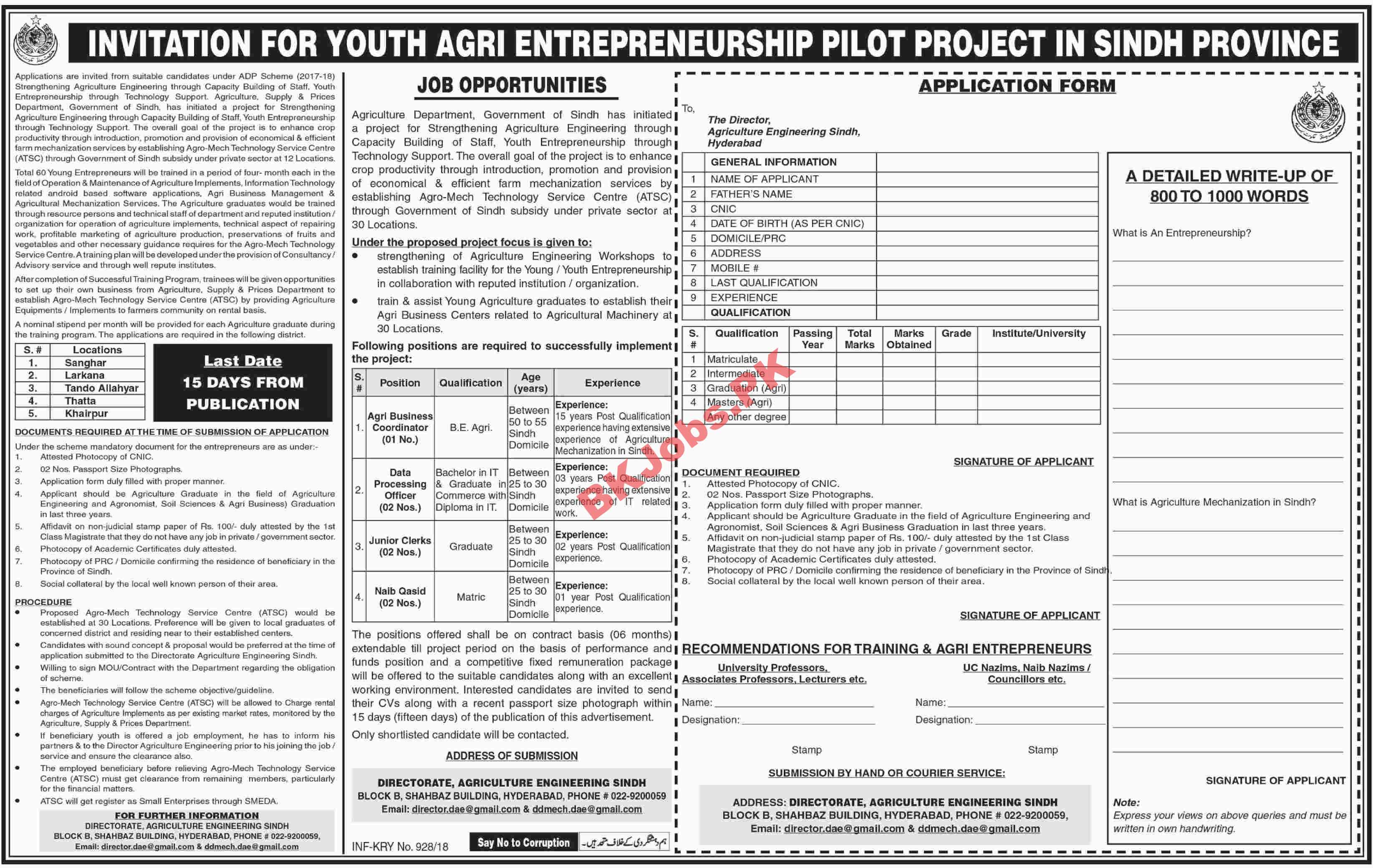 Youth Agri Entrepreneurship Pilot Project Sindh Jobs Latest ...