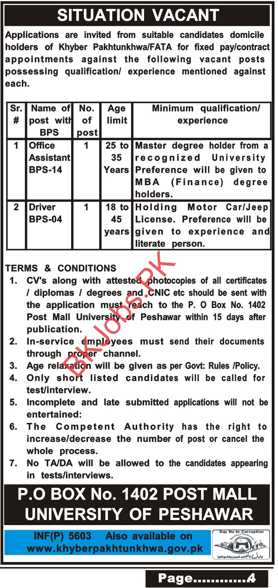 Po Box 1402 Peshawar Jobs For Office Assistant Others Kpk Fata